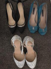 Three pairs of size 5 heels