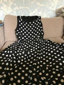 Wallis Black and white polka dot dress size 14