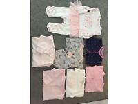 Bundle of baby girls babygros