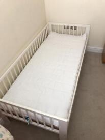 Ikea- White Childrens single bed frame & mattress