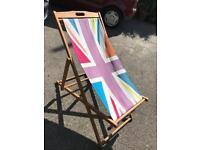 Union Jack vintage style deck chair and vintage beach windbreak