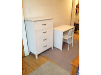 IKEA white chest of drawers, computer table and white chair