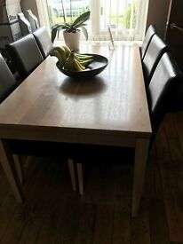 Used dining room table and chairs for six