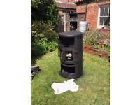 Danish style wood burner excellent condition with new heat glass panels