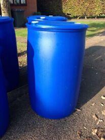 BLUE PLASTIC 210 LITRE BARREL / DRUM WATER BUTT