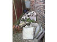 Rubble bricks and slabs help yourself . Take what you want . Come and collect .