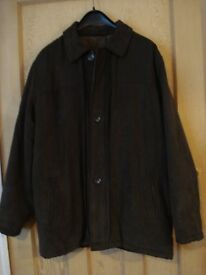 New gents moleskin suede warm long jacket, dark olive green, size large, BHS, in excellent condition