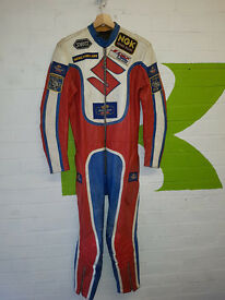 Vintage Griffin Rothmans Honda motorcycle race leathers