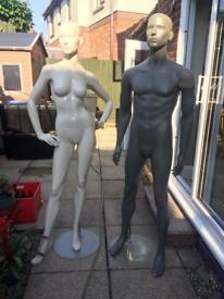 Male and Female ex-shop mannequins