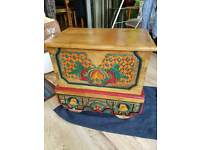 Decorative old fashioned wooden storage box