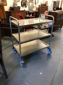 Lovely retro stainless steel medical trolley