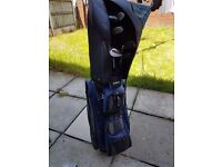 Full set Hippo golf clubs, ping putter, with trolley bag & trolley all excellent condition