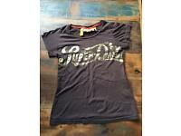 Brown and Gold Superdry T-Shirt Size XS (UK 8-10)