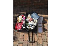 Car boot items and suitcase