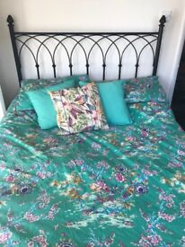 Black iron look double bed frame