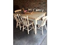 Shabby chic / farmhouse pine table plus 6 chairs