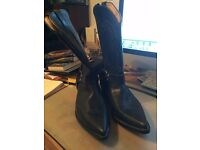 Go' West (Long Island) Men's Black Leather Cowboy Boots - As New Condition size 11