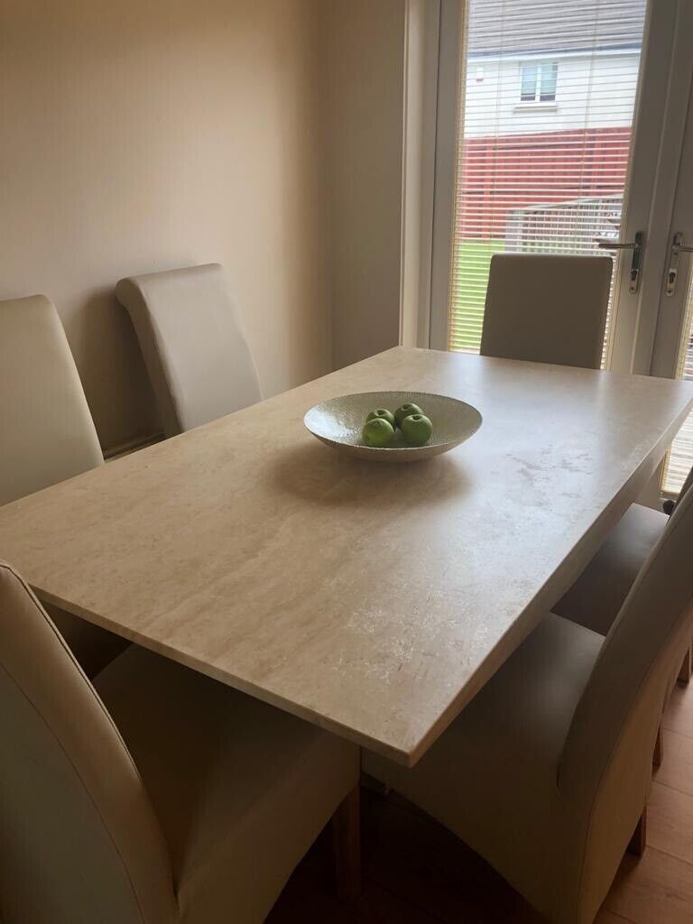 Marble dining table and 6 leather chairs.   in Cumbernauld ...