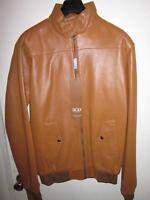 BRAND NEW MENS SICILY TAN LEATHER BOMBER JACKET SIZE L