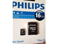 16GB ultra speed class 10 Philips micro SD card with adapted