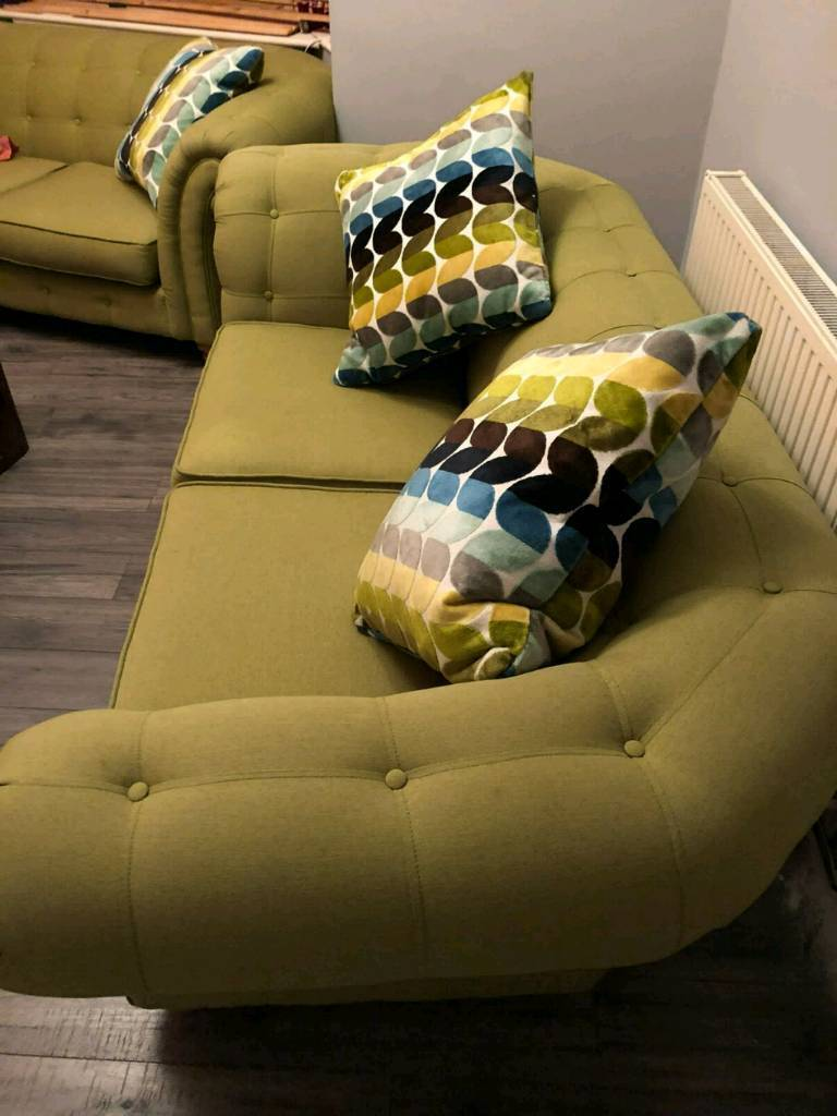 DFS x 2 Chesterfields olive green.