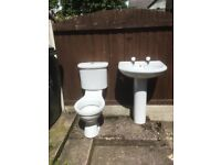 Toilet and Basin on pedestal