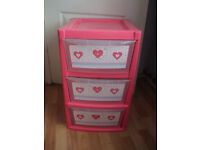Storage drawers,pink plastic 3 drawer very handy for storage,good condition