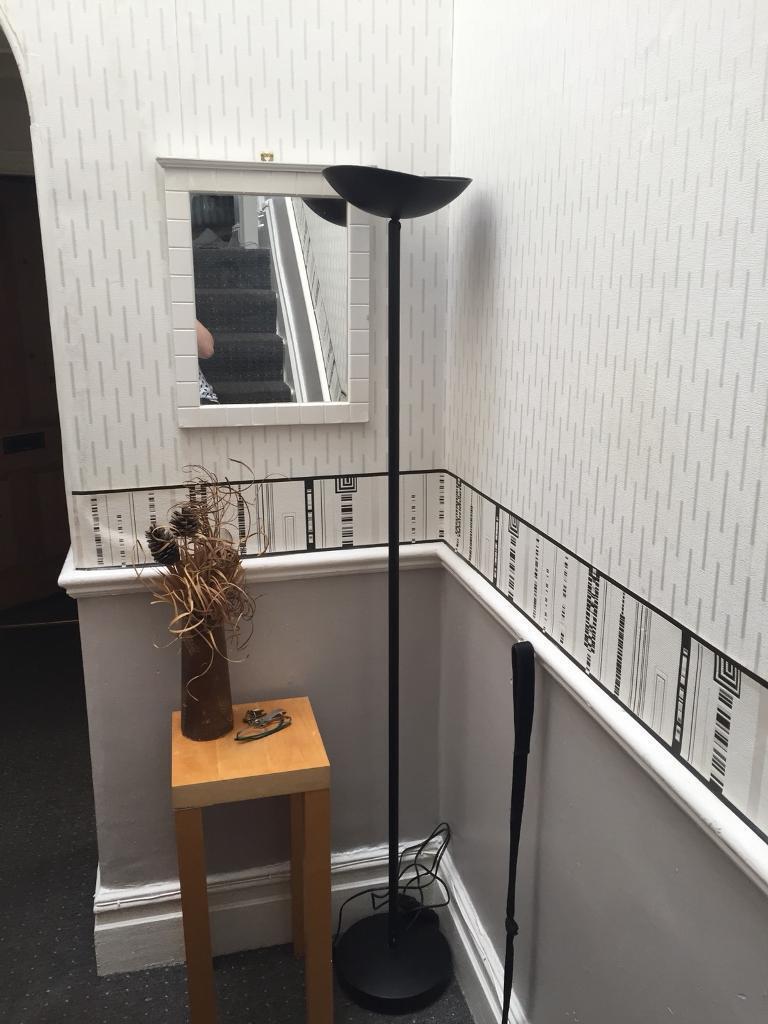 Tall black standing lamp