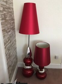 Table and stand red and silver lamps. Excellent condition, smoke free home, moving house forces sale