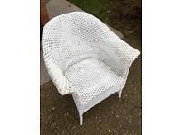 Painted white wicker chair