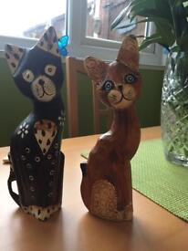 Wooden cat ornaments from abroad