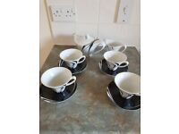 Debenhams Jazz Tea set - tea pot, creamer and 4 cups and saucers