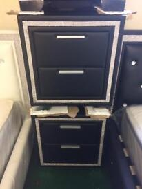 Bedside tables £75 each black and white