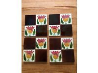 4 Victorian/Edwardian Art Deco Tiles with 4 matching plain tiles one with corner chip