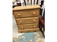 Solid pine chest of drawers, Lovely sturdy 3 drawer unit