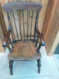 VINTAGE VICTORIAN SMOKERS ELBOW CHAIR ARMCHAIR ELM SEAT CHARACTER COUNTRY RUSTIC