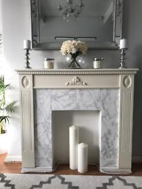 White/cream fire place surround mantle piece and electric fire