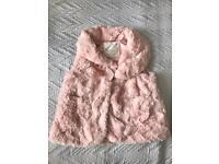 Pink soft faux fur gillet