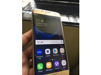 Samsung galaxy S7 Edge 32GB Unlocked Gold cracked back but fully working