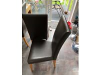 Dining Room Chairs- 4 brown faux leather from Next