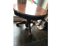 Good Condition - Solid Round Heavy Wood Coffee / Side Tables X2