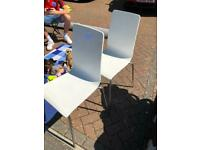 2 x white/chrome dining chairs