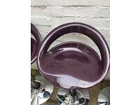4 bar stools in plum