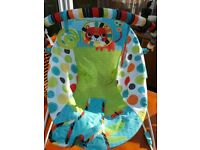 BRIGHT STARTS VIBRATING BABY BOUNCER SAFARI PATTERN BRAND NEW NO BOX