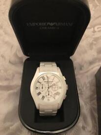 White ceramic Armani watch
