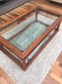 Large coffee table, Glass and Wood