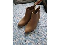 Beige suede ankle boots size 5