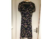 Hobbs silk floral print dress (navy) size 14 - barely worn