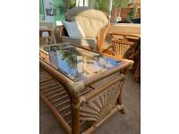 2 rattan tables with glass top (chair not included)