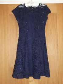 River Island Size 11-12 Navy lace and Sparkle dress wore to prom